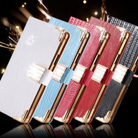 Fashion Phone Bags Sleeve Case For Samsung Galaxy S4 S IV i9500 Rhinestone Bling Diamond Flip Leather Wallet Cover For Galaxy S4