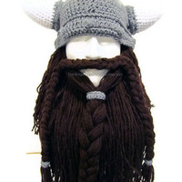 Bearded Viking Helmet - Hat - Men's Costume - Viking - Made to Order