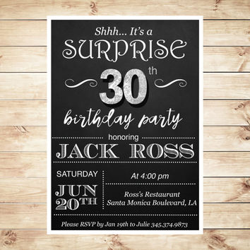 Surprise 30th birthday invitations for him, Mens 30th Birthday Party Invitations Instant Download, Mens 30th birthday invitations editable