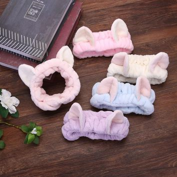 Lovely Super Elastic Cat Ear Women Makeup Hair Band Multiple Solid Color Practical Cute Girls Female Headband Cloth Accessories