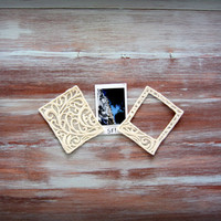 Off-White Lace Picture Frame-Small Square Picture Frame-Embroidered Picture Frame-Polaroid Picture Frame