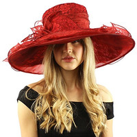 "Romantic Lace Flower Overlay Kentucky Derby Floppy Wide Brim 7"" Dress Hat Wine"