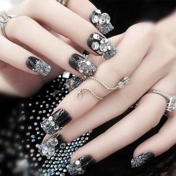 24pcs/Set Elegant Silver Glitter False Nails Rhinestone Black Square Head Long Acrylic Nail Art Tips Fake Nails with Glue