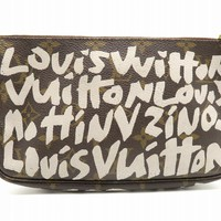 Louis Vuitton Monogram Graffiti Pochette Handbag Brown M92192 5055