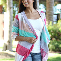 Stripe 3/4 Sleeve Asymmetrical Lace Cardigan