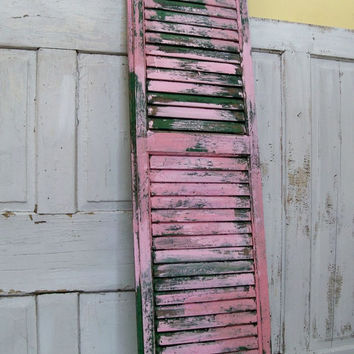 Large pink green shutter shabby chic weathered hand painted distressed recycled home decor Anita Spero