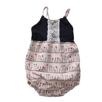 Cute Baby Summer Rompers 2017 New Floral Kids Baby Girl Romper Sleeveless Patchwork Kids Girl Jumpsuit Outfits Sunsuit Clothes