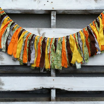 Camping Themed Rag Garland, Into the Woods Garland, Fabric Banner, Backdrop Garland, Photo Prop Garland, Birthday Decor
