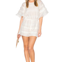 J.O.A. Sheer Woven Short Romper in White | REVOLVE