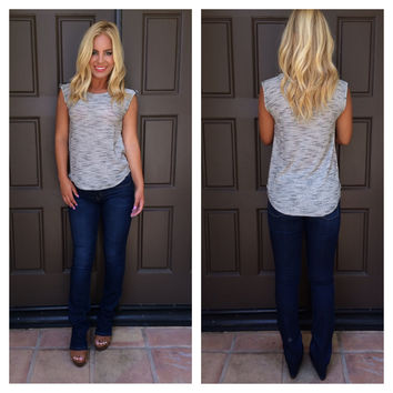 Zip Your Lip Knit Muscle Tee - LIGHT GREY