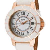 a_line Women's Women's Marina White Dial Rose Gold Tone IP Case White Genuine Leather Watch