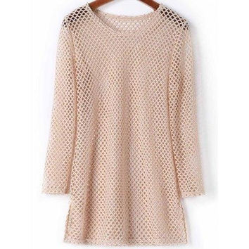 Sexy Scoop Neck Long Sleeve Openwork Side Slit Solid Color Cover-Up For Women
