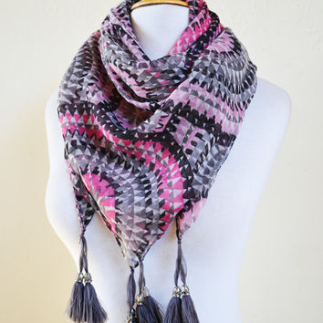 """Womens Scarf """"Sylvia"""" MULTICOLOR I with long tassels  - shawl cowl neckwarmer - accessories"""