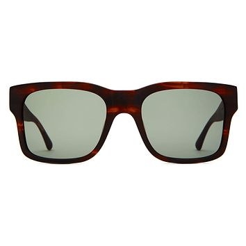 Crap Eyewear - Cosmic Freeway Matte Dark Demi Tortoise Sunglasses / Green Vintage Lenses