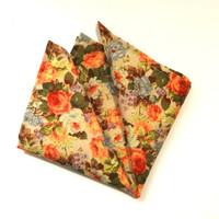 Floral Pocket Square with Flowers, Mens Pocket Square, Wedding Pocket Square, Flower Pocket Square, Handkerchief