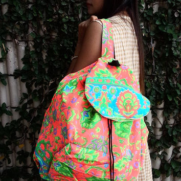 Tribal Backpack Painted Bag Tribal Hmong Woven Boho Hippie Ethnic Rucksack Indian Hipster Bags Hippie Purse Gypsy Shoulder Weekender Bag