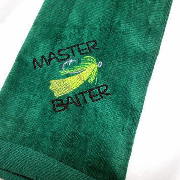 Fishing Towel, Funny Fish Towel, Master Baiter, Fisherman, Grommet, Hanging Fish Towel, Embroidered Towel, Gift for Fisherman, Cotton