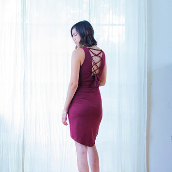 Open Back Funky Dress, Sexy Backless Pixie Dress, Bodycon dress, Red Dress