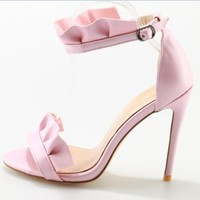 Pink Suede High Heels Sandal Open toe Ruffles Decorations Ankle Strap Gladiator Sandal Sexy Sandal