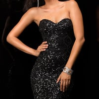 Sweetheart Sequin Little Black Dress by Scala