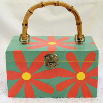 Cigar Box Purse Hand Painted With Daisy Design One of a Kind