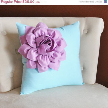 MOTHERS DAY SALE Lilac Corner Dahlia on Light Aqua Pillow 14 X 14 -Flower Pillow- Baby Nursery Pillow
