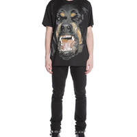 Givenchy Snarling Rottweiler Dog Jersey Tee & 3-Star Faded Jeans