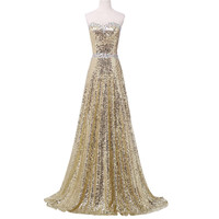 Strapless Vestido Bandage Long Mermaid Prom Dress Gold Sequined Draped