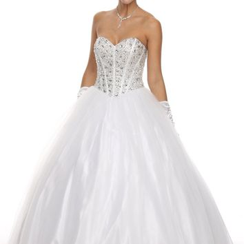 Corset Bodice Flared A Line White Quinceanera Gown