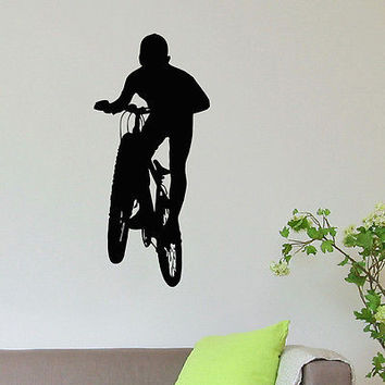 WALL DECAL VINYL STICKER SPORT BOY CYCLING BICYCLE DECOR SB637