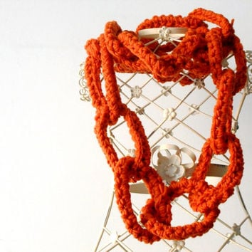 rust chain scarf, wool necklace, circle scarf, chunky crochet scarf
