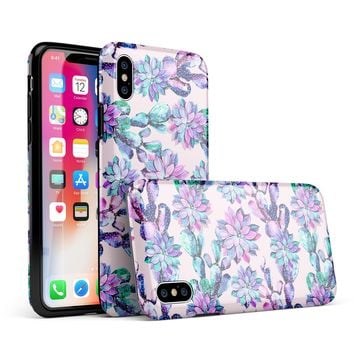 Watercolor Cactus Succulent Bloom V16 - iPhone X Swappable Hybrid Case