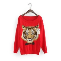 ZLYC Casual Scoop Neck Tiger Printed Column Christmas Sweater For Women
