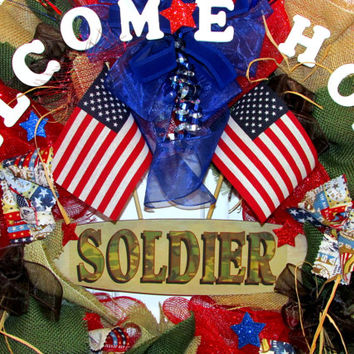 SALE & Free Shipping, Welcome Home soldier, Military wreath, patriotic, patriotic wreath, American flag, camoflauge, flag banner