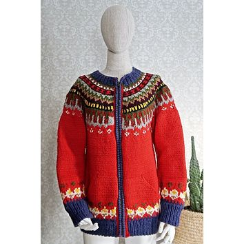 Vintage Icelandic  Wool Cardigan Sweater