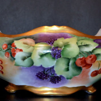 Austrian Hand Painted Center Bowl P.H. Leonard Grape Pattern, Antique Vienna Austria Porcelain Bowl