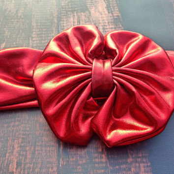 Red Metallic Messy Bow head wrap, Messy bow Headband, Top knot headband, Girls Head wraps, Metallic Messy Bow Baby Head wraps
