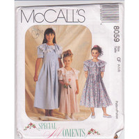 McCalls 8058 girls party or special occasion dress sewing pattern size 4 5 6 UNCUT