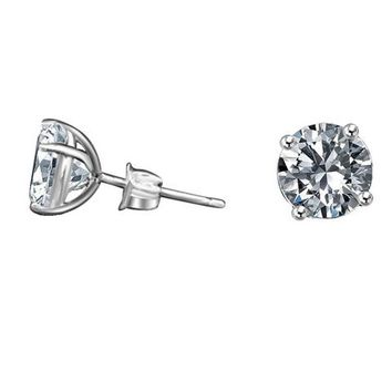 14k solid Gold set with Simulated Diamond - Diamond Veneer Basket Settings Stud Earrings 635E14k
