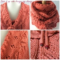 Wrap Scarf Neckwarmer Hand knit Caron Persimmon Ladder Lace Pattern