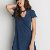 AEO Choker T-Shirt Dress , Indigo Acid