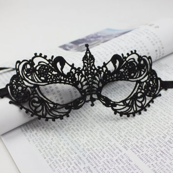Fashion Lady Black Sexy Lace Floral Eye Mask Venetian Masquerade Fancy Party Dress = 1945972996