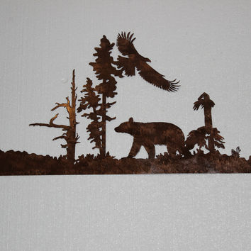 Bear and Eagle Flying Metal Wall Art Country Rustic Decor