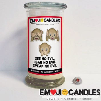 See No Evil, Hear No Evil, Speak No Evil - Emoji Candles