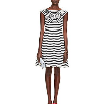 Kate Spade Bow Stripe Mariella Dress Rich Navy/Cream