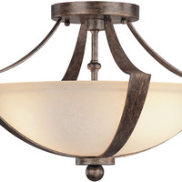 "0-020115>16""w Soho 2-Light Semi-Flush Rustic"