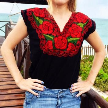 Mexican Floral Embroidered Top Blouse Colorful - Zina Black Red