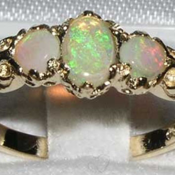 9K 9ct Yellow Gold Colorful Fiery Opal Eternity Anniversary Ring  - Made in England - Supplied in Your Finger Size