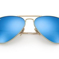 New!! Ray Ban 3025 Aviator 112/17 Gold Frame Blue Flash Lenses 58 mm Sunglasses