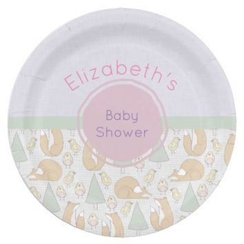 Cute Woodland Creatures Pattern Baby Shower Paper Plate
